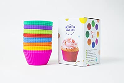 Silicone Cupcake Liners - 24 Pack Baking Cups- EIGHT colors - Reusable & Nonstick Muffin Molds - Cupcake Holders Gift set - Pink Purple Blue Red Green Fun Green Yellow Orange Muffin Cups - FREE E-BOOK WITH 70 RECIPES -Lifetime Guarantee!!!