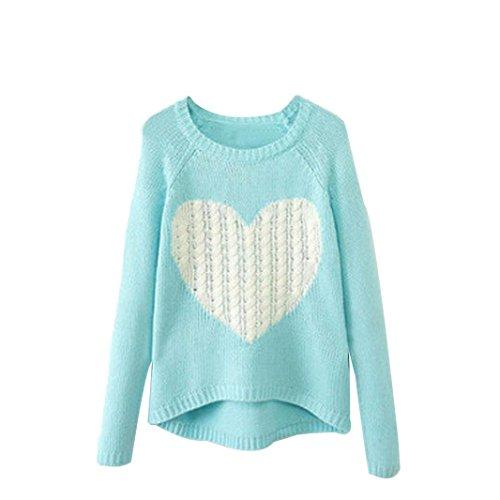 TOPITEMS New Women O-neck Long Sleeve Loose Cardigan Knitted Sweater Jumper Knitwear (XL, Sky Blue)