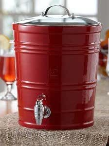 The Jay Companies 1180404 2.65-Gallon Beverage Dispenser with Glass Cover and Spigot, Cherry Red