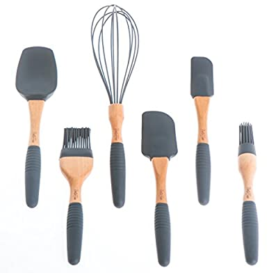 """PortoFino Home & Kitchen 6 Pc. Baking Utensil Set - Beech Wood & Silicone - Cooking / Pastry Tools - 9"""" Large Spatula, Small Spatula, Spoon Spatula, Flat Pastry Brush, Round Pastry Brush, 12"""" Balloon Whisk, Grey"""