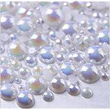 LOVEKITTY ® 600 Pcs AB White Mixed Sizes Flatback Pearl Cabochons