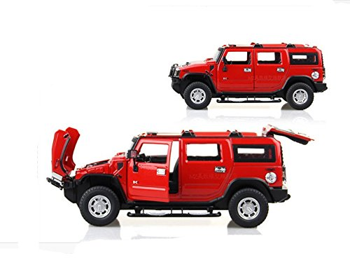 Tourwin Toy car 1:24 Hummer H2 simulation Red Glider Car Model Collection Decoration Alloy children's toys 4 doors can open