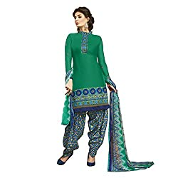Resham Fabrics Dark Green Cotton Dress Material With Dupatta