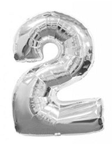 Mondial-fete - Ballon 2 argent 38 cm