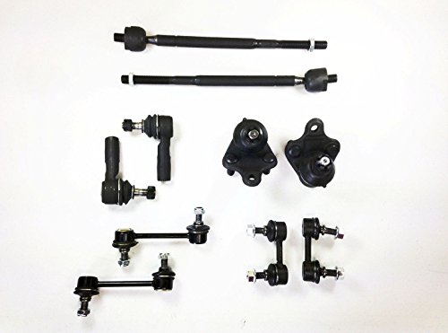 10 Pc Kit Outer Inner Tie Rods, Lower Ball Joints, Front & Rear Sway Bar Links Left & Right