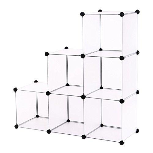 Songmics-DIY-Regalsystem-Raumteiler-Stufenregal-Standregal-Badregal-Regal-Kleiderschrank-Sideboard-Schrank-Wei-96-x-96-x-315-cm-LPC111S