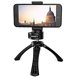 "AUKEY iPhone Tripod with Mount, Photo Video Tripod for Digital Camera DSLR with 1/4"" Screw, Cellphone Tripod for iPhone, Samsung, Android Smartphones"