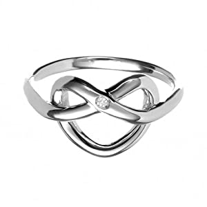 Hot Diamonds Interlaced Heart Silver And Diamond Ring - Size R