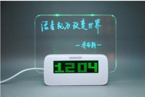 Message Board Digital Alarm Clock With 4 Port Usb Hub (Green)