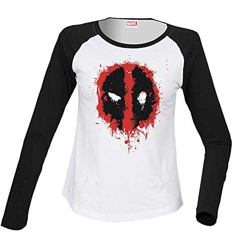 Marvel Donna Deadpool Splat Face Camicia a maniche lunghe da baseball Large Bianco nero