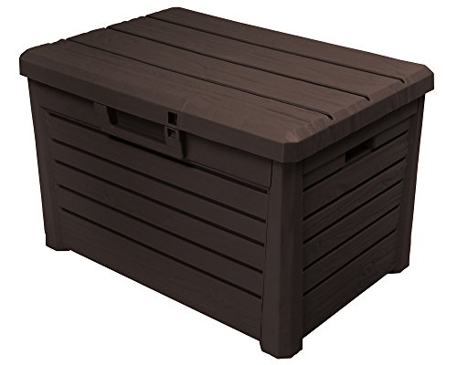 kissenbox florida holz optik sitztruhe auflagenbox poolbox braun 120 liter xl mit gasdruckfedern. Black Bedroom Furniture Sets. Home Design Ideas