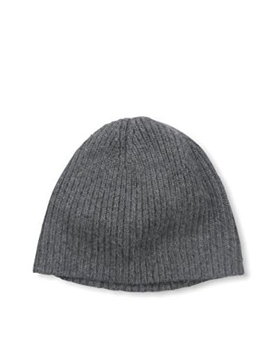 Portolano Men's Cashmere Hat Needle Ribbed Beanie, Dark Heather Gray