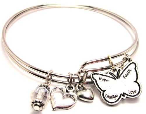 Hope, Faith, Courage, Love Butterfly Adjustable Ba…