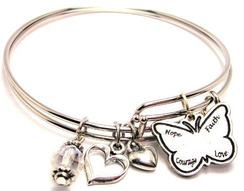 Hope, Faith, Courage, Love Butterfly Adjustable Bangle Bracelet