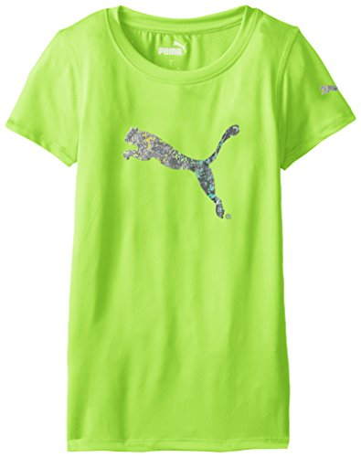 PUMA Big Girls' Short Sleeve Core Tee Shirt, Kite Green, 12-14 (Large)
