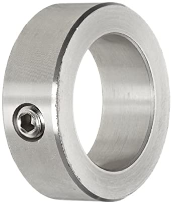 "Climax Metal C-087-S Shaft Collar, One Piece, Set Screw Style, Stainless Steel, 7/8"" Bore, 1-1/2"" OD, 9/16"" Width, With 5/16-18 Set Screw"