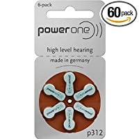 Power One Size 312 Zinc Air Hearing Aid Batteries (60 batteries)