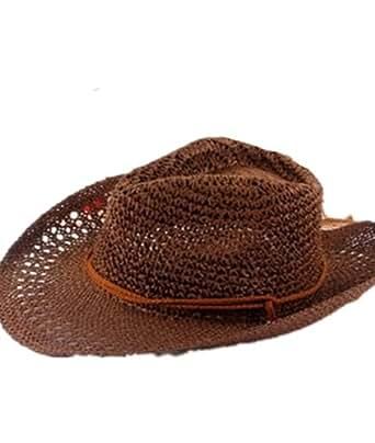 Autek cap Corée paille chapeaux de cowboy pour les hommes et les femmes ainsi que quelques grand chapeau de paille dans le chapeau du soleil de plage d'été GM (559) (café)