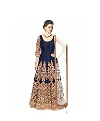 vaankosh fashion women Navy blue cotton designer bollywood style Dress Materials /partywear Dress Materials/heavy embroidered l Dress Materials