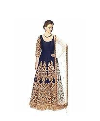 vaankosh fashion women Navy blue cotton designer bollywood style Dress Materials /partywear Dress Materials/heavy embroidered l Dress Materials