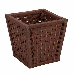 Household Essentials Paper Rope Waste Basket, Dark Brown Stain