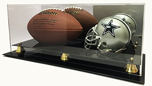 Deluxe Mini NFL Helmet and Full Size Football Acrylic Display Case with Mirror (Nfl Mini Football Display Case compare prices)