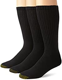 Gold Toe Men\'s 3 Pack Casual Crew Extended Sock, Black, 13-15