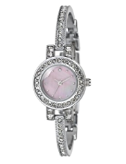 M&S Collection Round Face Dainty Diamanté Analogue Bangle Watch