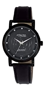 Q and Q Attractive ION-PLATED women Black Case with rhinestones black leather Band