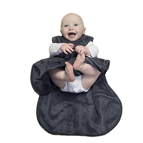 Gunamuna Fleece Gunapod Wearable Baby Sleepsack, Charcoal, Small