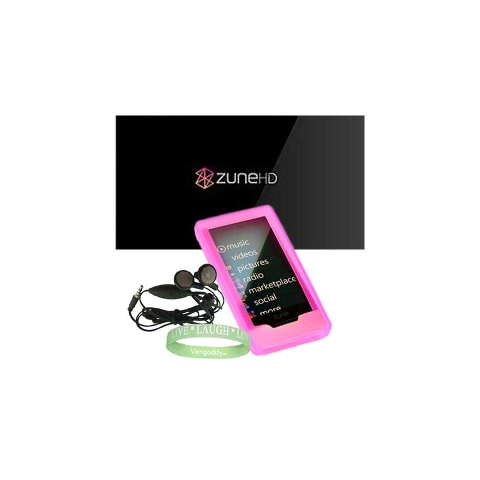 Microsoft Zune HD 16GB, 32GB & Microsoft Zune HD Accessories bundle containing Premium **PINK** Silicon Skin Case Cover + Microsoft Zune HD  Earphones + Live*Laugh*Love Silicone Wrist Band   Players & Accessories