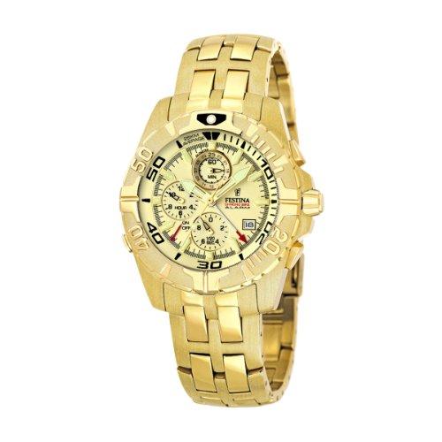Festina Chronobike F16119/4 - Reloj cronógrafo de cuarzo para hombre, correa de acero inoxidable color dorado (alarma)