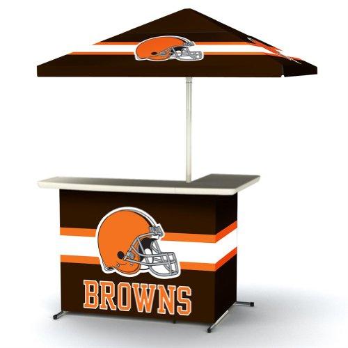 Nfl Cleveland Browns Portable Wheel Bag Travel L-Shape Umbrella Basic Bar Brown