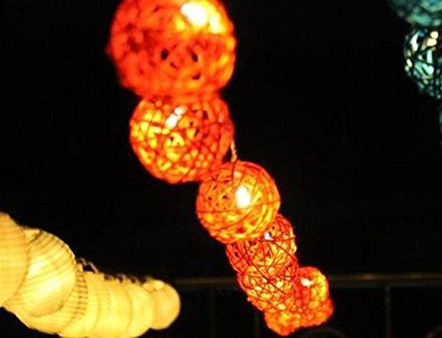 New Solar Powered Led Orange Rattan Garden Lantern Fairy Light String