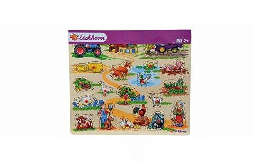 Eichhorn Holzeinlegepuzzle Kinder Holz Puzzle Tiere Auto Bauernhof ab 2 Jahre: Farbe: Bauerhof