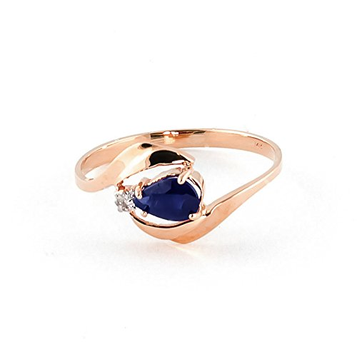 QP Jewellers Natural Diamond & Sapphire Ring in 9ct Rose Gold, 0.50ct Pear Cut - 1329R