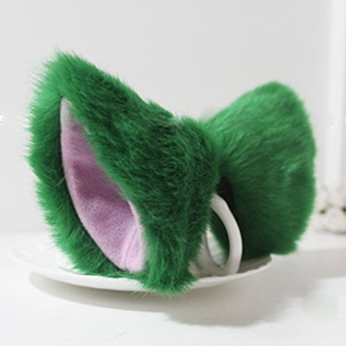 ystdr-cat-fox-long-fur-ears-anime-neko-costume-orecchiette-hair-clip-party-green-and-pink