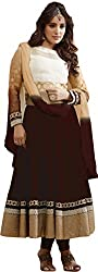 VH Fashion Gorgeous Beige And Brown Neck Embroidered Semi Stitched Long Anarkali Suit