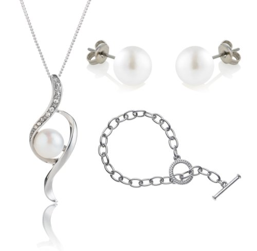 Freshwater Pearl Bow Pendant with Tiffany Style Bracelet Set, Made with SWAROVSKI ELEMENTS
