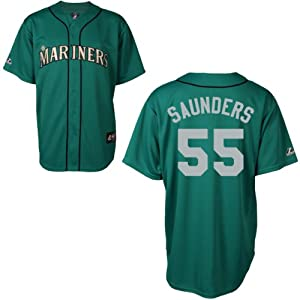 Michael Saunders Seattle Mariners Alternate Green Replica Jersey by Majestic by Majestic