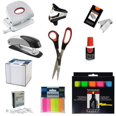 Verschiedene-Hersteller-10-tlg-Broset-Locher-Heftgert-Textmarker-Schere-Zettelbox-Grau