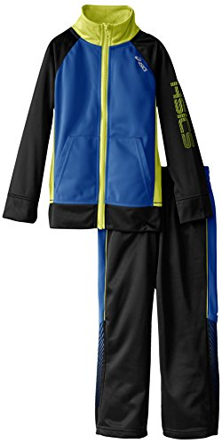 ASICS Little' 2 Piece Finish Line Set- Long Sleeve Jacket and Pant, Slate, 5/6