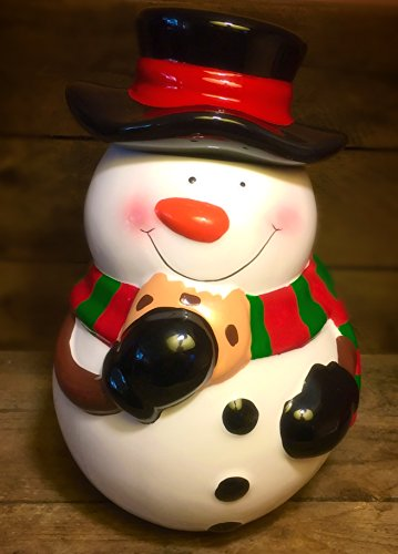 snowman-cookie-jar-with-chocolate-chip-cookie-teleflora-retired