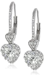White-Gold Diamond Heart Leverback Earrings (1cttw, G-H Color, I1-I2 Clarity)