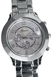 Geneva Platinum 9158 Women's Decorative Chronograph-style Link Watch-SILVER