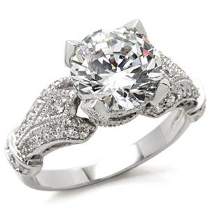 Solitaire Pave Sides CZ Ring