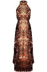 G2 Chic Women's Ruffled Strapless Printed Summer Hi-Lo Dress