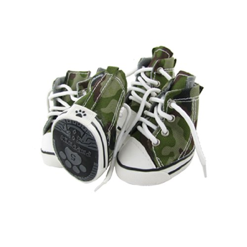 Jardin Camouflage Print Pet Dog Doggy Shoes, Size 5, 2 Pairs, Army Green