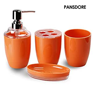 Pansdore 4 piece bath accessory set bathroom for Bathroom accessories orange