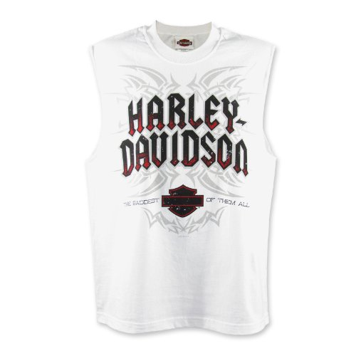 Harley-Davidson Bagram Tribal Muscle Tee Mens, Medium, White